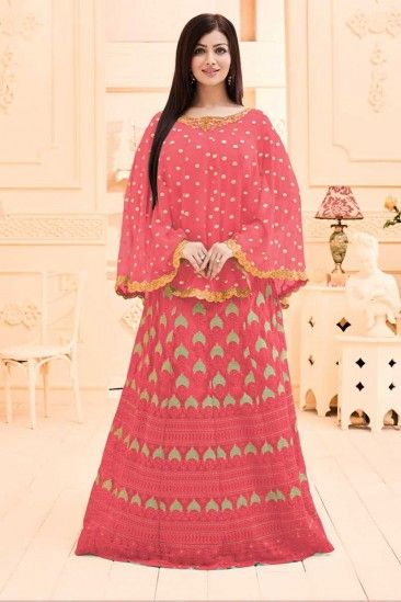 Bollywood Ayesha Takia Pink Georgette And Net Gown - DMV14984