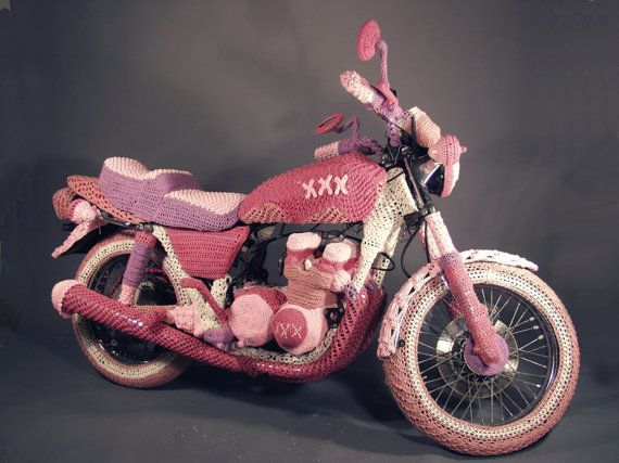 Knit Motorcycle Cozy: Pink Motorcycles, Bike, Crochet Animal, Motorcycles Helmets, Yarns Bombs, Yarnbomb, Theresa Honeywel, Knits Motorcycles, Crafts