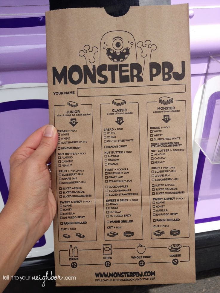 PBJ Food Truck-menu on a paper bag! View menu, circle items to order, then food is made and put in the bag - it's perfect and less wasteful!
