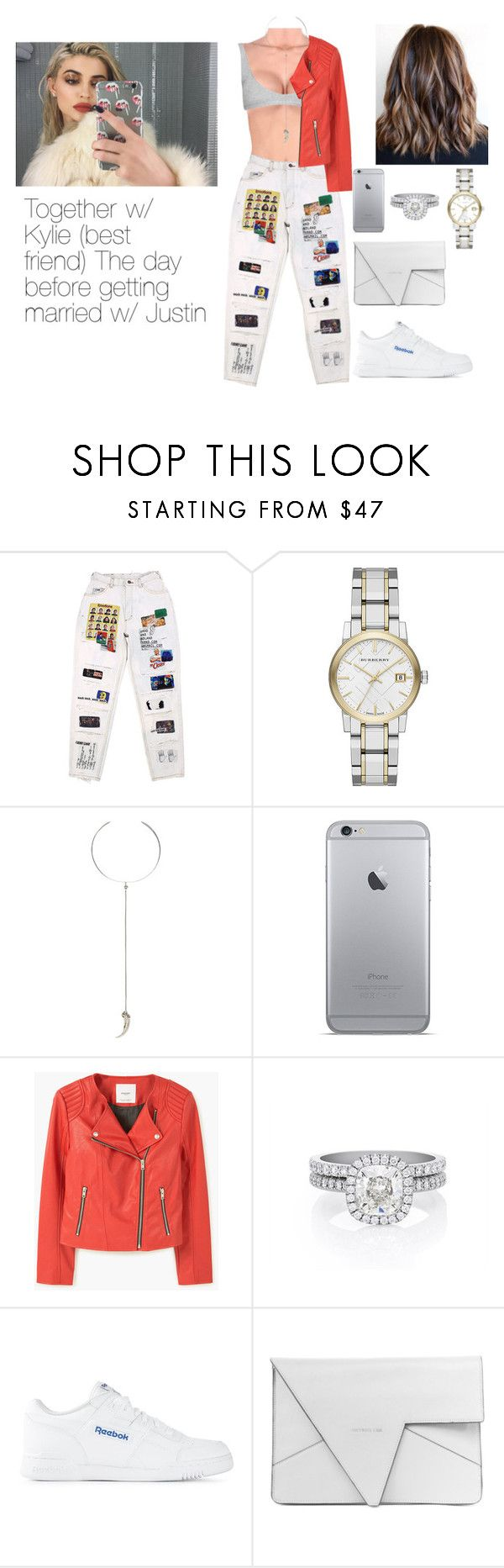 """Imagine Kylie Jenner"" by cecilie2010-sp ❤ liked on Polyvore featuring Burberry, Vanessa Mooney, MANGO, De Beers and Reebok"