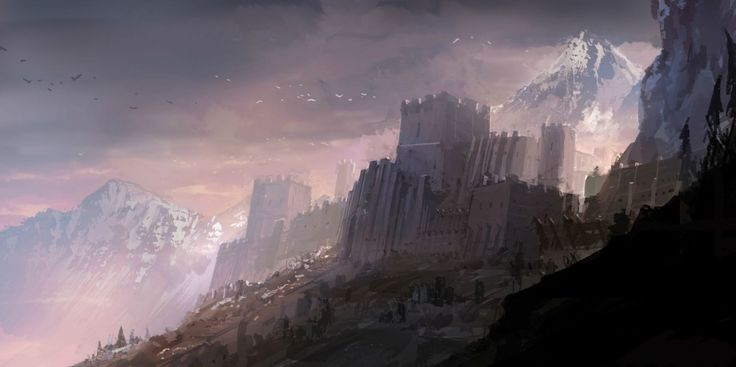 Fantasy Mountain Fortress mountain fortress background concept art ...