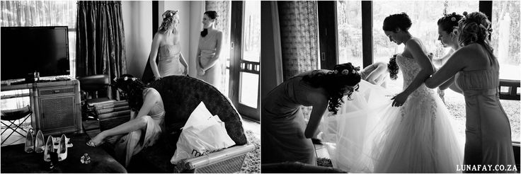 Wedding Photography Bride getting dressed - bridesmaids www.lunafay.co.za