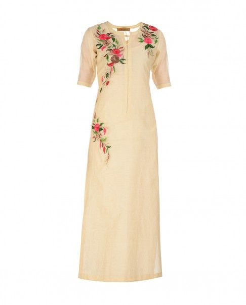 Beige Tunic with Floral Embroidery