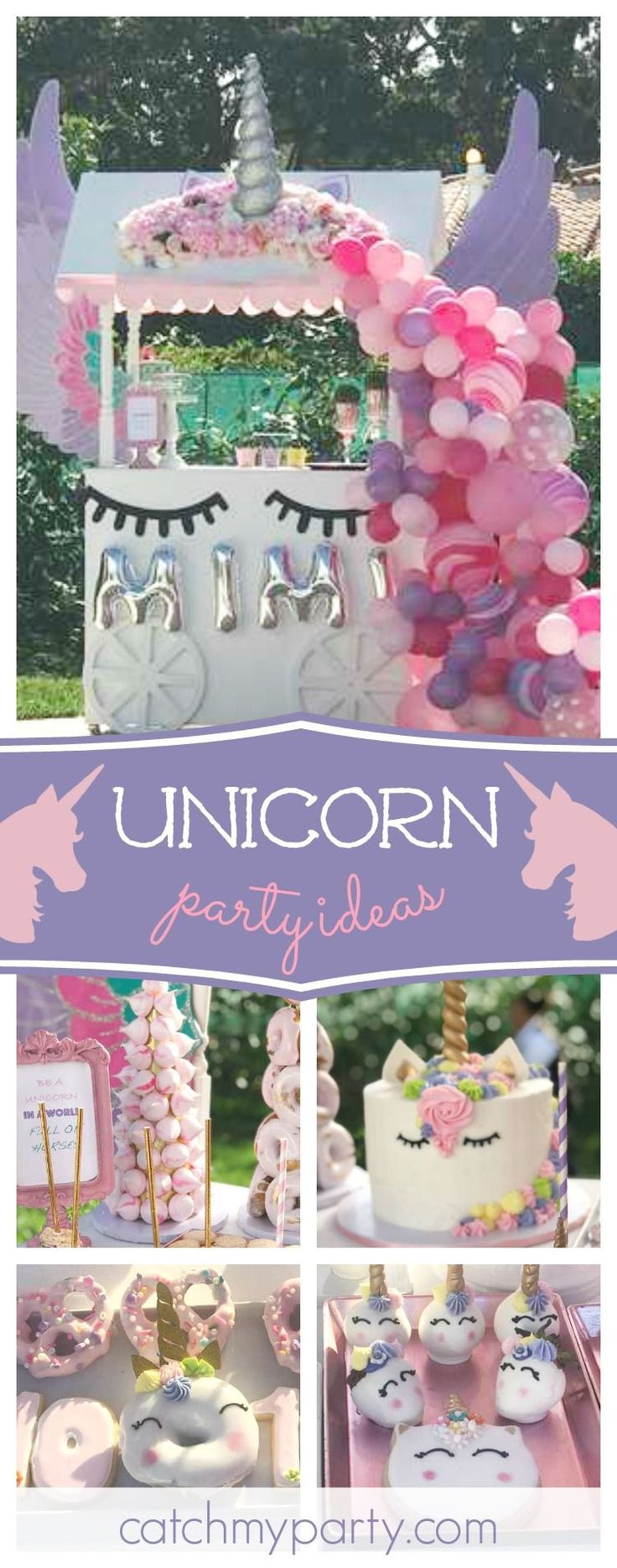 Take a look at this wonderful Unicorn birthday party! The dessert table cart and balloon garland is amazing!! See more party ideas and share yours at CatchMyParty.com #partyideas #catchmyparty #unicorn #garden