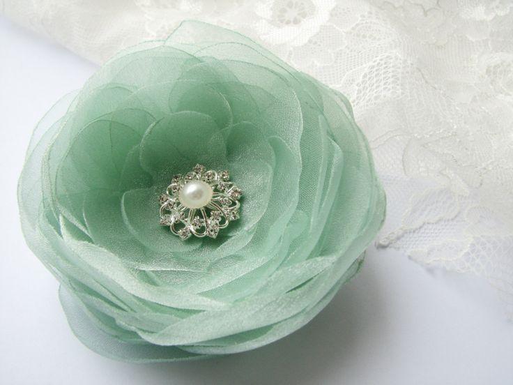 Mint green flower hair clip brooch Hair flower by AijasFlowers, €16.00