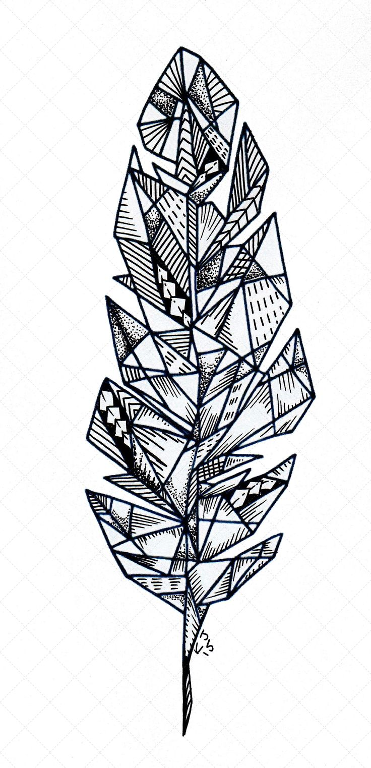 Custom Hand Drawn Geometric Feather | You Made Me Ink