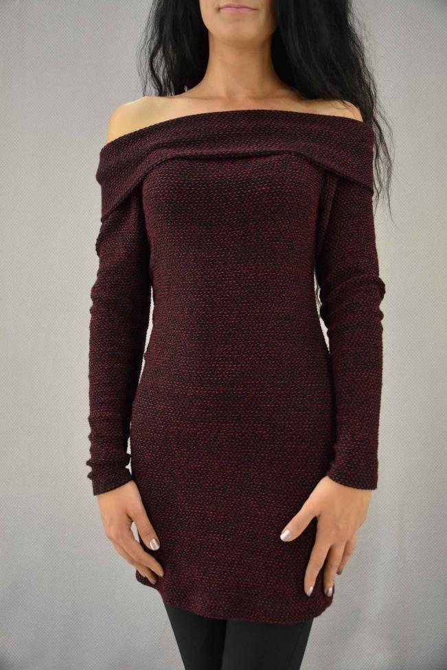 Γυναικείο φόρεμα πλεκτό χαμόγελο  PLEK-2266-bu Φορέματα - Φορέματα 2016
