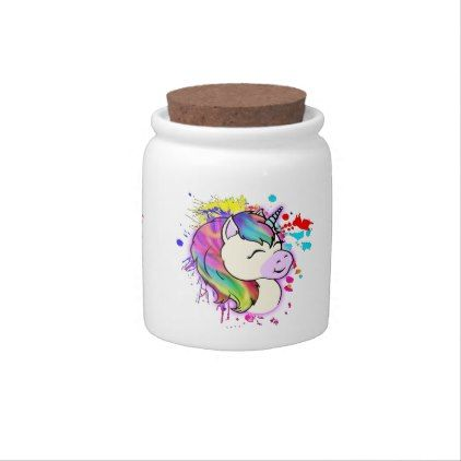 Happy Unicorn Candy Stash Jar Candy Dishes - home gifts ideas decor special unique custom individual customized individualized