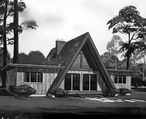 A frame contemporary retro house plan 10092