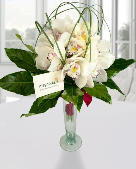 White Cymbidium orchid bouquet with aralia leaves