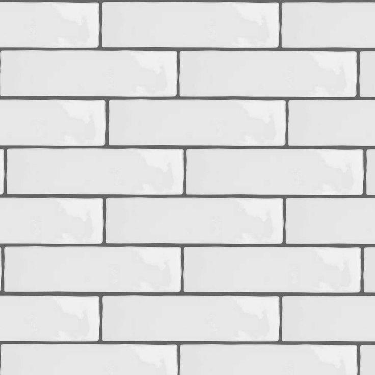 Mileto Brick White Gloss Ceramic Wall Tile 75 X 300mm