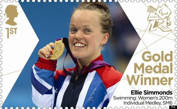 Paralympics Gold Medal Winner stamp - Swimming: Women's 200m Individual Medley, SM6, Ellie Simmonds.
