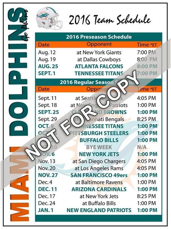 2016 Miami Dolphins Football Schedule Magnet - NFL (High Quality Magnet) #Magnet