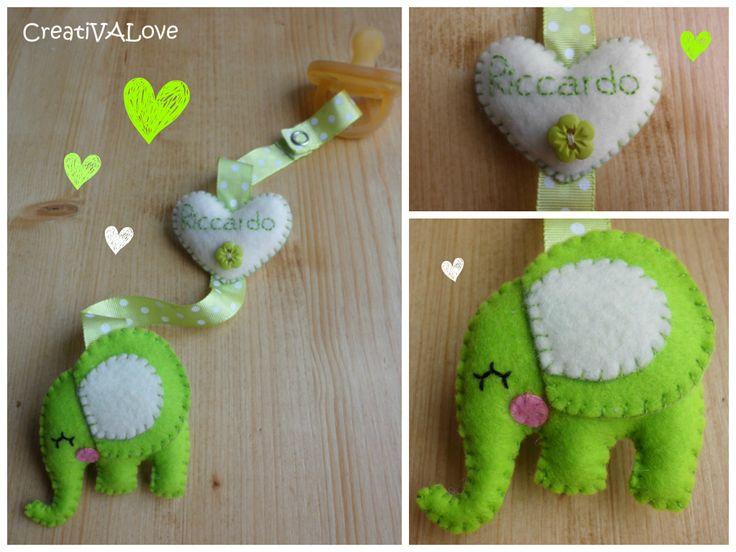 Creativalove handmade. Elefantino fermaciuccio personalizzato, realizzato completamente a mano.