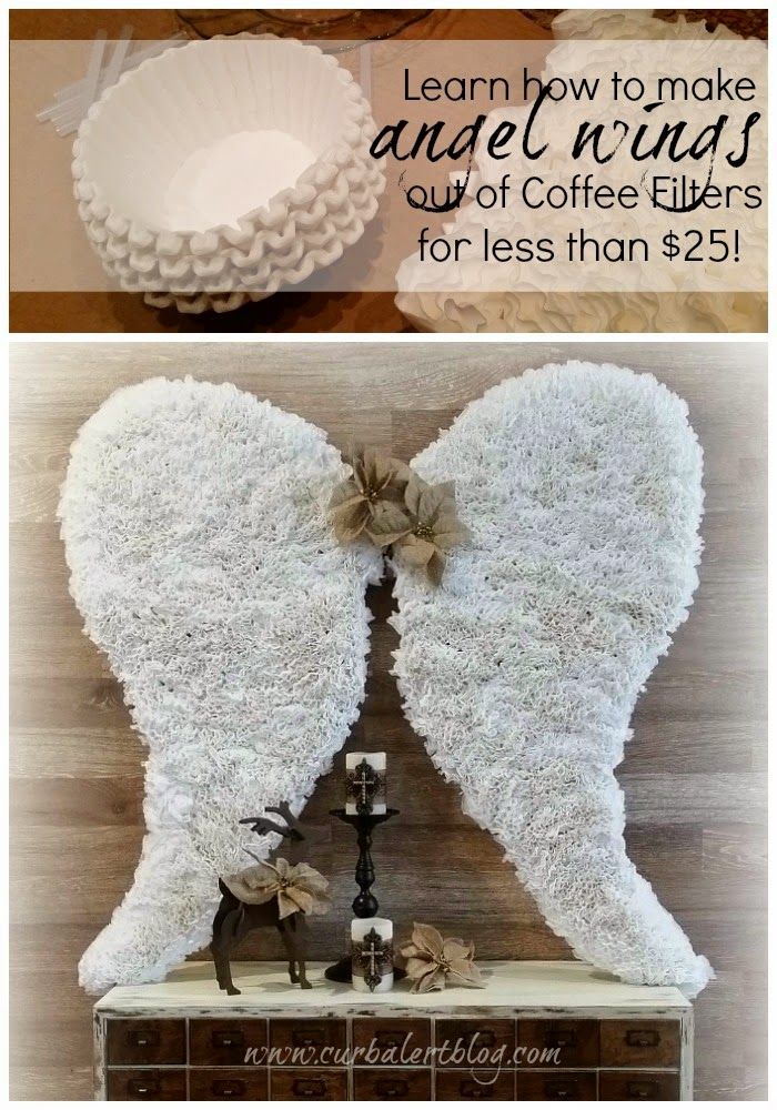 Curb Alert! Your favorite DIY Blog!: Coffee Filter Angel Wings Tutorial: 12 Days of Christmas Tour
