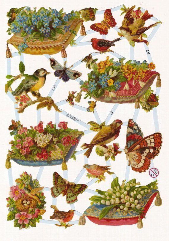 BUTTERFLIES BIRDS FLORALS PILLOWS Embossed Die Cuts Victorian Scraps Decoupage Paper Arts GERMANY Bird Scrap via Etsy