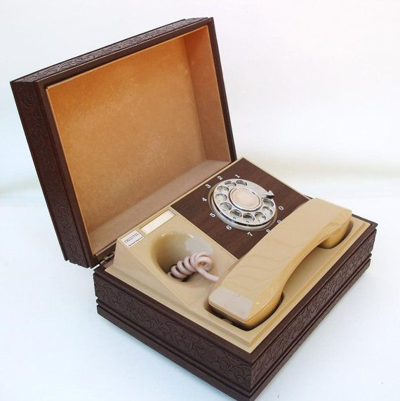 Vintage Rotary Phone 1980s Desk Telephone  - Phone in Box  - Secret Compartment Box - Works Great