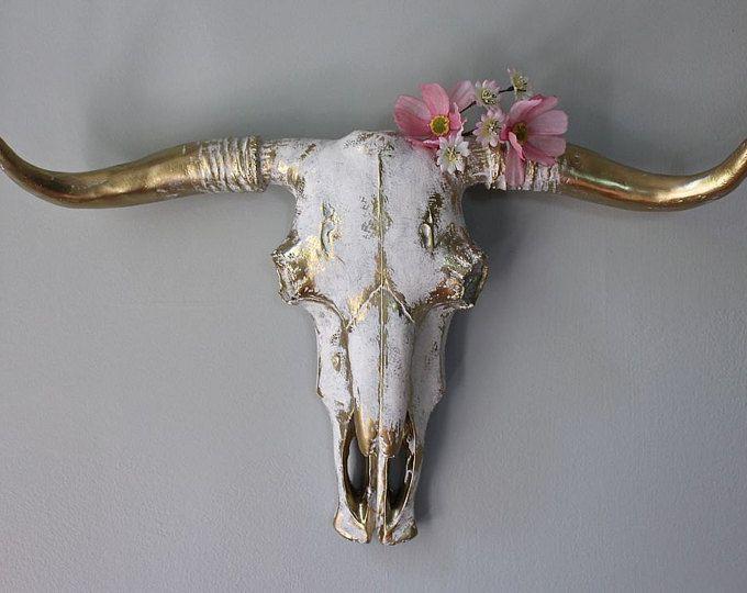 Stier schedel Faux taxidermie Wall Decor koe hoofd Wall Mount wit-Gold lange hoorn Westerse Cowboy Cowgirl slaapkamer Kid's rustieke Boho-MySecretLite