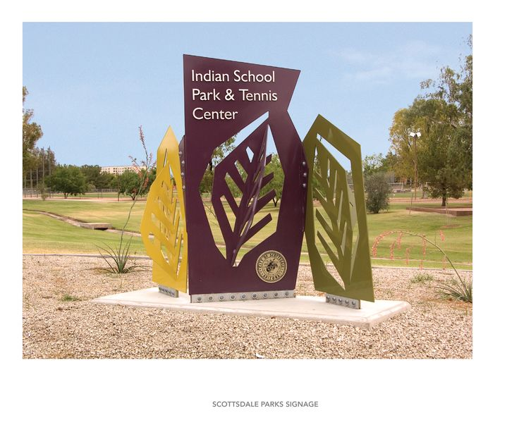 Scottsdale Parks Signage System. Organic shapes and cut out elements could be interesting for the rose garden.