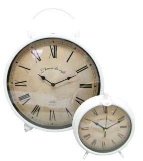 UH67034 White Vintage Clock Sm 19cm