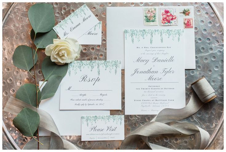Neutral, green, pale grey wedding invitation suite - Simply Bliss Photography - Best of 2017 Arkansas Wedding Photos   Favorite Wedding Details