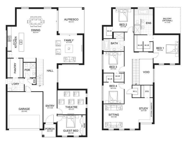 Melody 42.8 - Double Level - Floorplan by Kurmond Homes - New Home Builders Sydney NSW