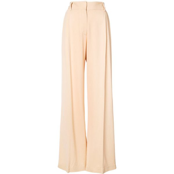 Ryan Roche palazzo trousers ($905) ❤ liked on Polyvore featuring pants, high waisted palazzo trousers, beige palazzo pants, high-waisted trousers, long pants and high-waist trousers