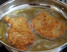 how to make homemade German schnitzel pork recipe traditional authentic. I used part packet breadcrumbs and part sunflower meal, fresh ground by me :)