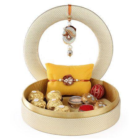 Rakhi gift hamper for brother, puja thali, Raksha Bandhan, Rakhi indian festival; indian bracelet; ships to India, hand-made rake set, lumba