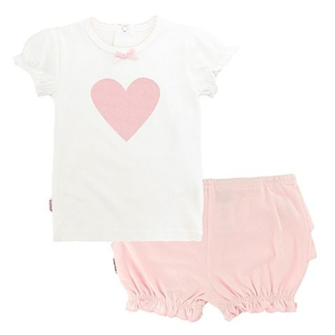 She'll look adorable in the pink-and-white frilly style of Kushies Heart Top and Ruffle Bloomer Set. Made of an irresistibly soft cotton blend with a bit of Lycra® for some stretch, this outfit is perfect for a day of fun-filled activity and play.