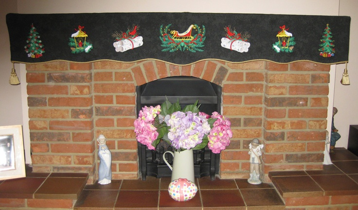 Full view of fireplace mantle covering
