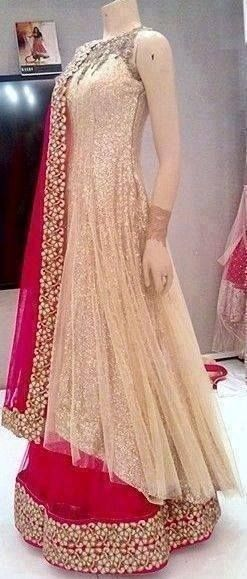 Lehenga gold zari zardozi indian weddings bride bridal wear www.weddingstoryz.com details. white and pink bridal anarkali. #anarkali #bridalanarkali