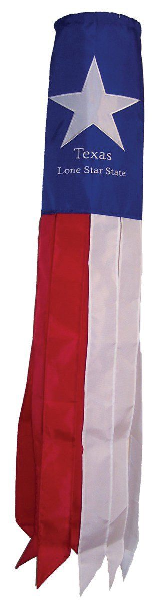 In the Breeze Texas Flag Windsock, 40-Inch. In The Breeze Item #4150 - 40-inch Texas Flag Windsock is made with durable polyester fabric that is stain, UV and weather resistant. The windsock body has a detailed Texas Flag appliqué and embroidered design. There are 8 coordinating streamer tails with sewn edges. The windsock size including tails is 6 inches in diameter and 40 inches long. A 3-position twisted polyester string bridle with heavy duty snap swivel is attached for easy hanging…