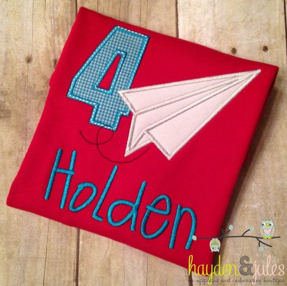 Hey, I found this really awesome Etsy listing at https://www.etsy.com/listing/226434914/applique-paper-airplane-birthday-shirt