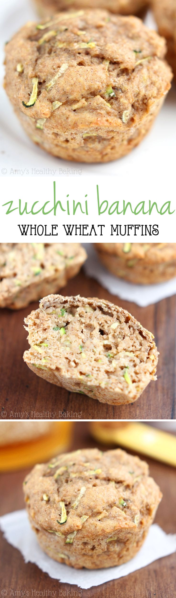 Whole Wheat Zucchini Banana Muffins -- an easy clean-eating breakfast! So tender & barely 125 calories!