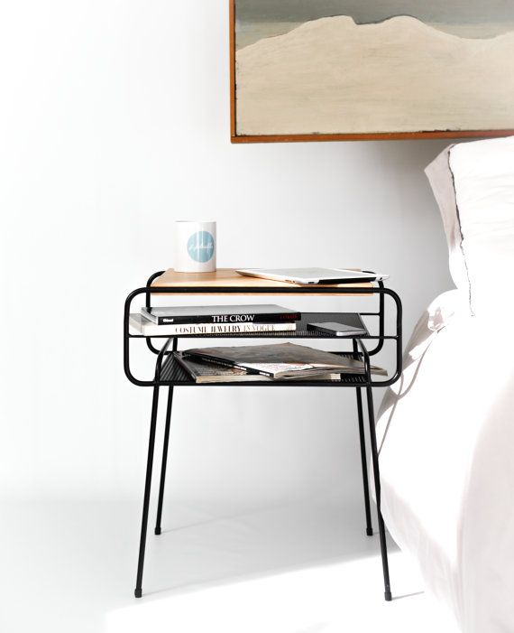 Nightstand / Bedside table black lacquered iron and by Habitables