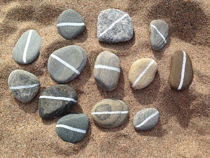White Line Pebble Maths - a lovely provocation for creativity and critical thinking from CreativeSTAR