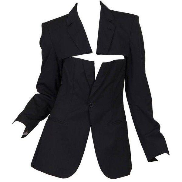 Preowned Jean Paul Gaultier Slashed Blazer ($1,200) ❤ liked on Polyvore featuring outerwear, jackets, blazers, black, bolero blazer, sexy jackets, sexy blazers, jean paul gaultier jacket and bolero jacket