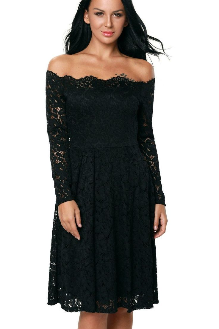Cheap Black Lace Long Sleeve Off the Shoulder Cocktail Party Dress On Sale Modeshe.com, Free Shipping With us$60 Purchase.
