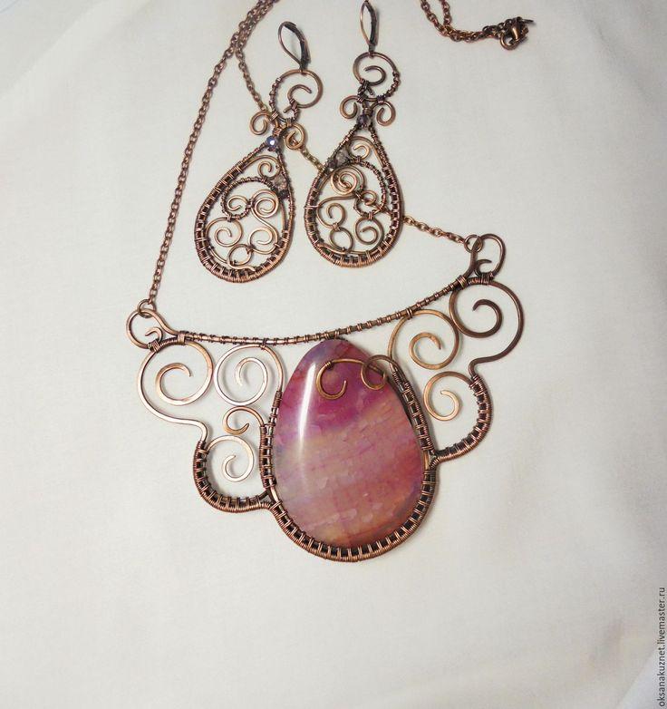 Купить колье РОЗОВЫЙ ЗАКАТ - розовый, медь патинированная, колье, агат, белый, состаренный