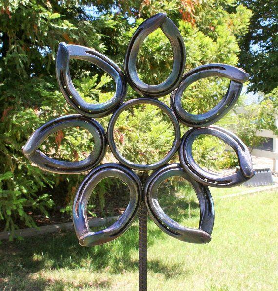Horseshoe Flower Garden Art Metal Flower By GarysCustomMetalwork