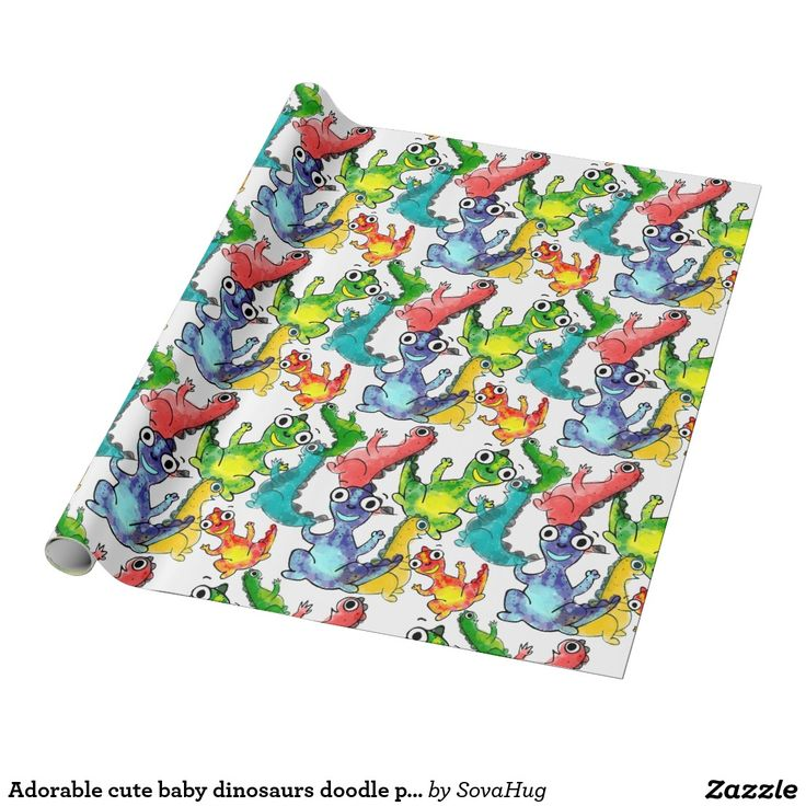 Adorable cute baby dinosaurs doodle picture design wrapping paper, baby gift ideas