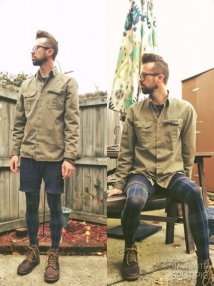 Get this look: http://lb.nu/look/8511261 More looks by Ryan W: http://lb.nu/bobofloyd Items in this look: Gap Army Green Button Shirt, Gap Navy Cut Off Corduroy Shorts, Navy/Green Tartan Winter Tights, Brown Dr. Martens Tobias Boots #casual #classic #street #drmartens #boots #tights #androgynous #tartan #fall
