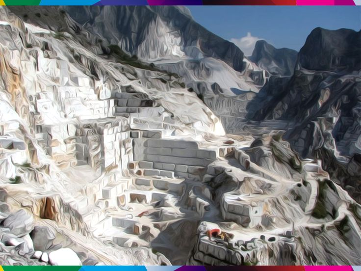 """CAVA DI FANTISCRITTI - MASSA. The #Fantiscritti quarries of white #marble are situated near the town of #Carrara .  The name of the cave come from a bas-relief artwork of the Roman period (300 ad), carved on a rock wall and depicting three deities below them with a dedication in Latin.  There is a train station built for the line of the railway Marmifera Private Carrara .Inside there is the """" Museum of the cave"""" and is often the stage and backdrop for the exhibition of artists. #AlpiApuane"""