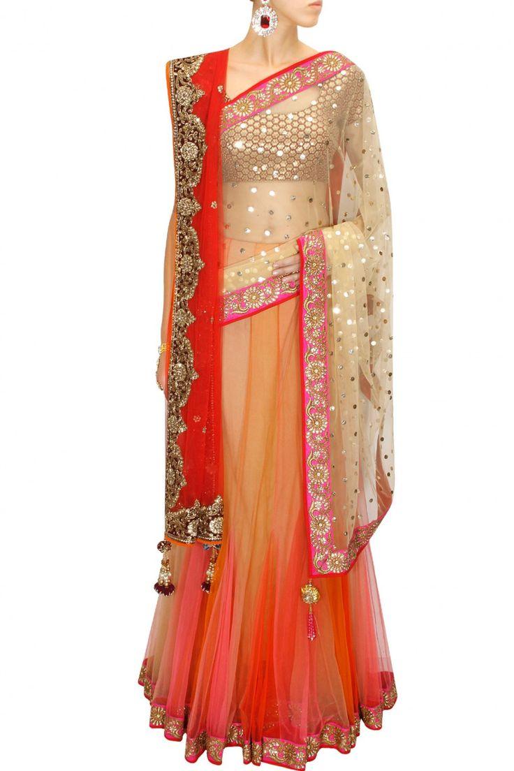 GREAT LENGTHS : Shaded mukaish work kali lehenga sari with red embroidered blouse and dupatta by Vikram Phadnis. Shop at www.perniaspopups... #designer #indian #vikramphadnis #couture #fashion #shopnow #perniaspopupshop #happyshopping