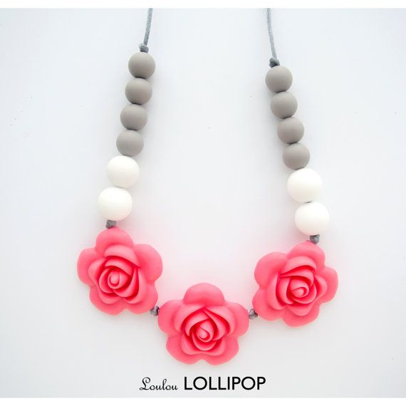 Pink Rose Silicone Teething/Nursing Necklace - Flower teething beads, rosette necklaces, girls teething necklaces, baby necklaces