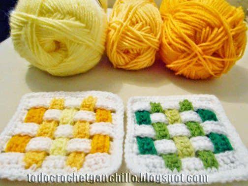 Cómo tejer agarraderas crochet con diseño de franjas entrelazadas paso a paso