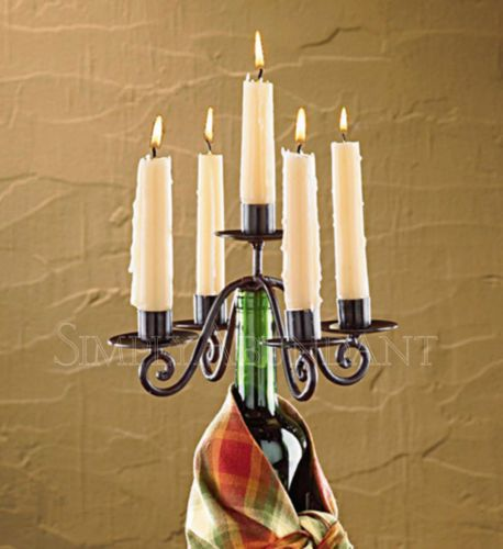Village Candelabra Wine Bottle Topper, Iron, Brown Burl Finish, Holds 5 Candles, Great gift with free shipping.