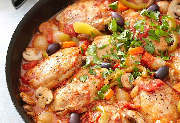 Catch this one-pan wonder of mushroom, capsicum and carrot with tangy olives and anchovies, all in a herby tomato sauce.
