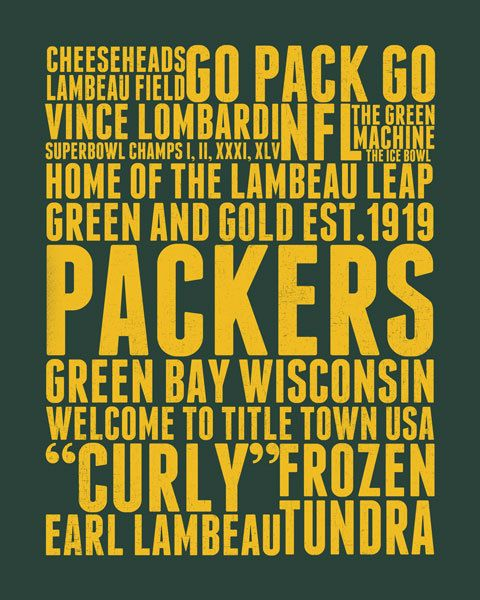 Green Bay Packers Subway Art Digital Print by LittleBirdieDigital. Available for instant download in four color options.